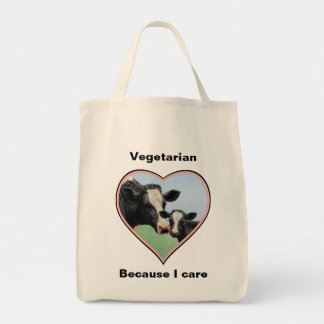 Holstein Calf & Cow Pink Heart Vegetarian Tote Bag