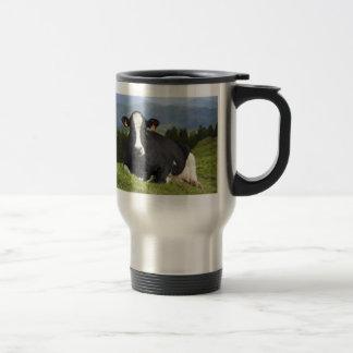 Holstein cow 15 oz stainless steel travel mug