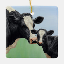 Holstein Cow and Calf Ceramic Ornament