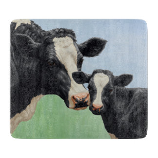 Holstein Cow and Calf Cutting Board
