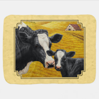 Holstein Cow and Calf Farm Yellow Baby Blanket