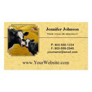 Holstein Cow and Calf Farm Yellow Business Card