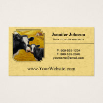 Holstein Cow and Calf Farm Yellow Business Card