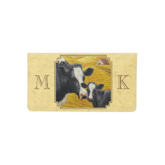 Holstein Cow and Calf Farm Yellow Checkbook Cover