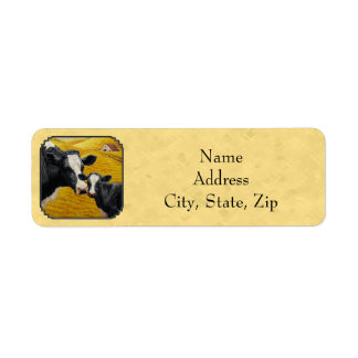 Holstein Cow and Calf Farm Yellow Label