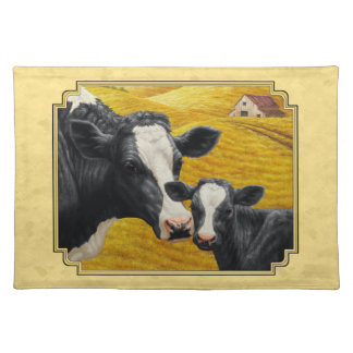 Holstein Cow and Calf Farm Yellow Placemat