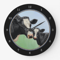 Holstein Cow and Calf Large Clock