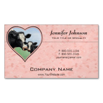 Holstein Cow and Calf Pink Heart Magnetic Business Card