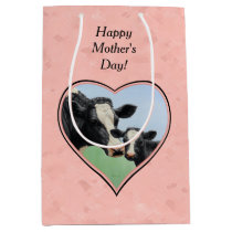 Holstein Cow and Calf Pink Heart Medium Gift Bag