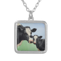 Holstein Cow and Calf Silver Plated Necklace