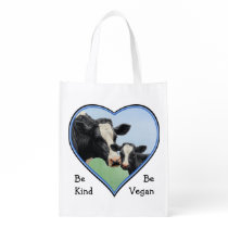 Holstein Cow & Calf Blue Heart Vegan Grocery Bag