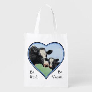 Holstein Cow & Calf Blue Heart Vegan Reusable Grocery Bag