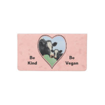 Holstein Cow & Calf Pink Heart Vegan Checkbook Cover