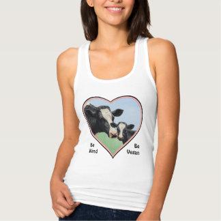 Holstein Cow & Calf Pink Heart Vegan Tank Top