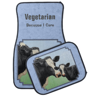 Holstein Cow & Calf Vegetarian Sky Blue Car Mat