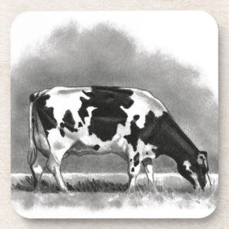 Holstein Cow Grazing: Realism Pencil Drawing Beverage Coaster