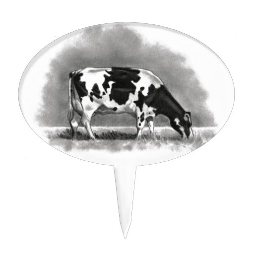 Holstein Cow Grazing: Realism Pencil Drawing Cake Toppers