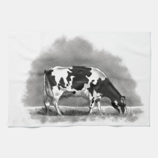 Holstein Cow Grazing: Realism Pencil Drawing Kitchen Towel