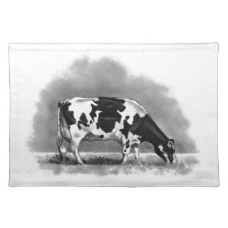 Holstein Cow Grazing: Realism Pencil Drawing Place Mat