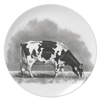 Holstein Cow Grazing: Realism Pencil Drawing Plate