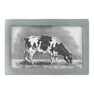 Holstein Cow Grazing: Realism Pencil Drawing Rectangular Belt Buckle