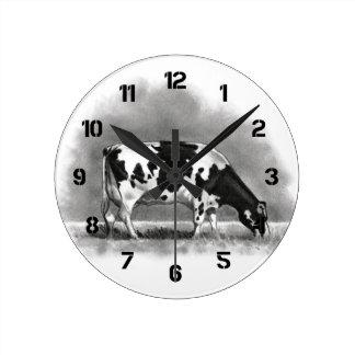 Holstein Cow Grazing: Realism Pencil Drawing Round Wallclocks