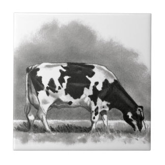 Holstein Cow Grazing: Realism Pencil Drawing Tile