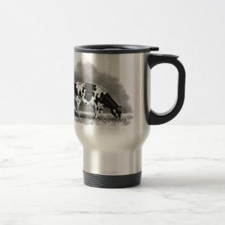 Holstein Cow Grazing: Realism Pencil Drawing Travel Mug