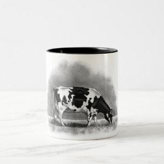 Holstein Cow Grazing: Realism Pencil Drawing Two-Tone Coffee Mug