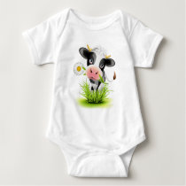 Holstein cow in grass baby bodysuit