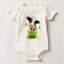 Holstein cow in grass baby bodysuit