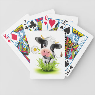 Holstein cow in grass bicycle playing cards