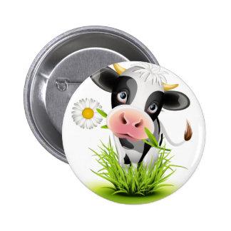 Holstein cow in grass 2 inch round button