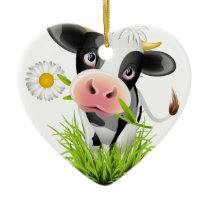Holstein cow in grass ceramic ornament