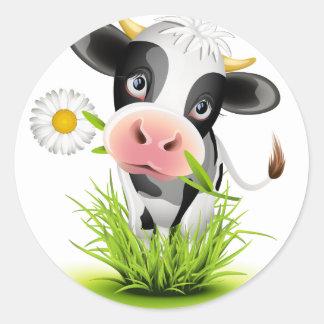 Holstein cow in grass classic round sticker