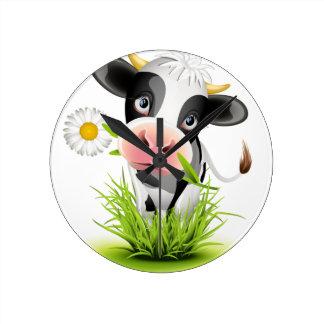Holstein cow in grass round wallclocks