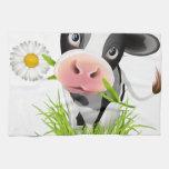 Holstein cow in grass hand towel