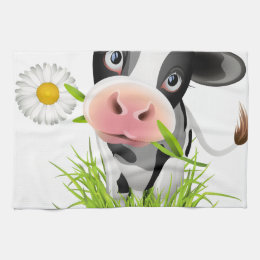 Holstein cow in grass hand towel
