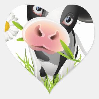Holstein cow in grass heart sticker