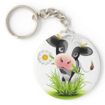 Holstein cow in grass keychain