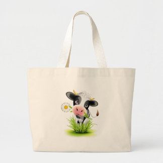 Holstein cow in grass large tote bag