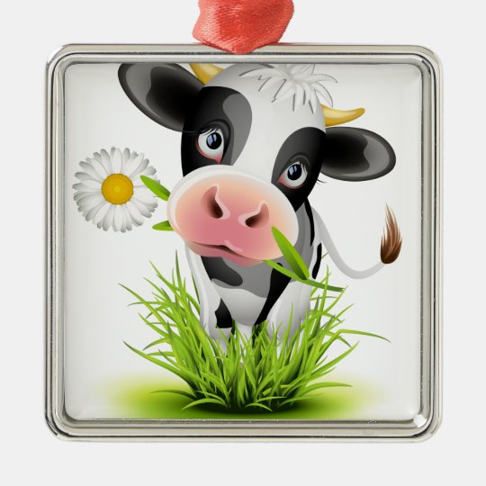 Holstein cow in grass metal ornament