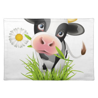Holstein cow in grass place mats