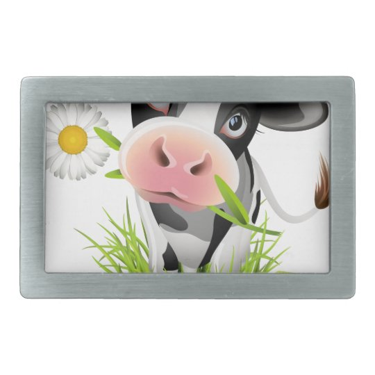 Holstein cow in grass rectangular belt buckle