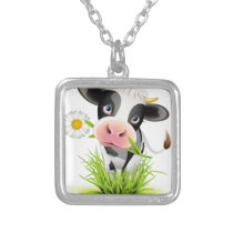 Holstein cow in grass silver plated necklace