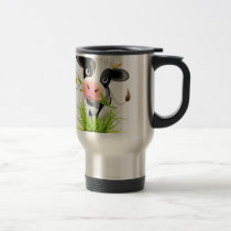 Holstein cow in grass travel mug