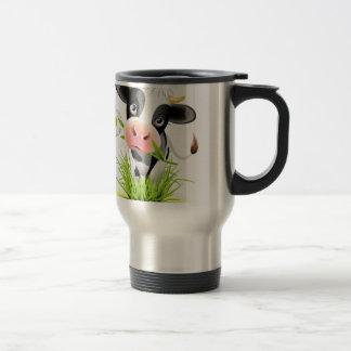 Holstein cow in grass travel mug