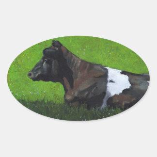 Holstein Cow in Oil Pastel: Impressionism/Realism Oval Sticker