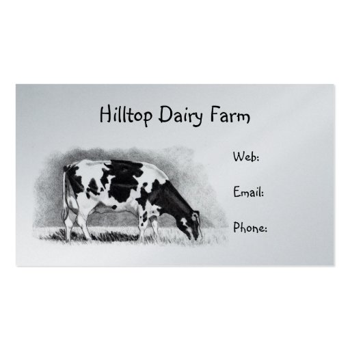 Holstein Cow in Pencil: Dairy, Milk, Farm Business Card Template