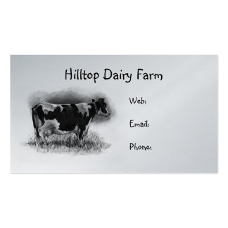 Holstein Cow in Pencil: Dairy, Milk, Farm Business Card